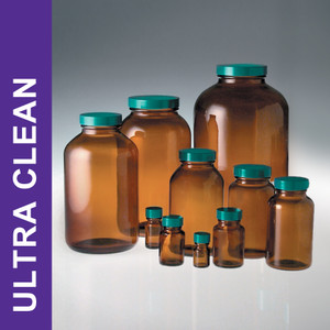 Product Family: Ultra Clean 8.5oz (250ml) Amber Wide Mouth Packers, 45-400 Green PTFE Lined Cap