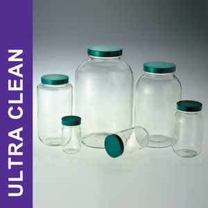 Product Family: Ultra Clean 128oz (3,840ml) Clear Wide Mouth Bottles, 89-400 Green PTFE Lined Cap