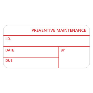 """CalTAG - Self-Laminating Calibration Labels, Red On White, 1"""" x 2.125"""", 1000 labels/roll"""