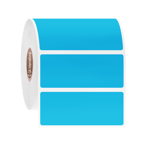 """Paper Labels For Direct Thermal Printers, Blue, 2.5"""" x 1"""", 6000 labels/roll"""