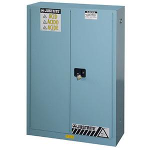 Justrite® Acid Cabinet, 45 gal, ChemCor Lined, Blue, Self-Closing, Blue