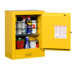 Justrite® Sure-Grip Mini Flammable Safety Cabinet, 2 gal, Manual, Yellow