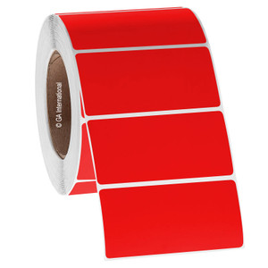 """Paper Labels For Direct Thermal Printers, Red, 4"""" x 2'' / 102mm x 50.8mm, 2,800 labels/ roll"""
