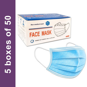 Disposable Civilian Face Mask with Ear Loop, 3-Ply Blue (5 boxes of 50), case/250 masks