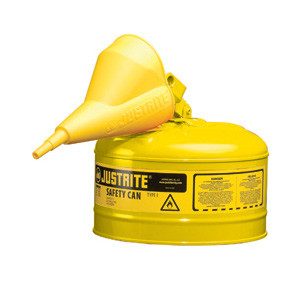 Justrite® Type I Steel Safety Can with Funnel, 2.5 gallon, Choose Color