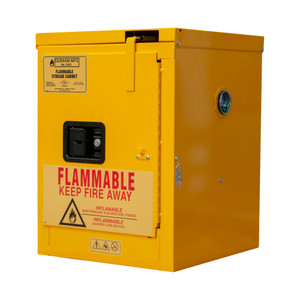 FM Approved, Flammable Storage Cabinet, 4 Gallon, 1 Door, Self Close, 1 Shelf, Safety Yellow