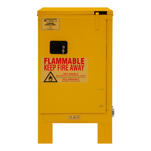 FM Approved, Flammable Storage Cabinet with Legs, 12 Gallon, 1 Door, Self Close, 1 Shelf, Safety Yellow
