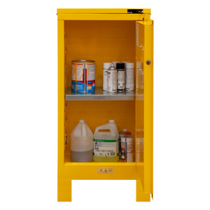 FM Approved, Flammable Storage Cabinet with Legs, 16 Gallon, 1 Door, Self Close, 1 Shelf, Safety Yellow