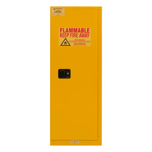 FM Approved, Flammable Storage Cabinet, 22 Gallon, 1 Door, Manual Close, 2 Shelves, Safety Yellow