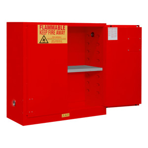FM Approved, Flammable Storage Cabinet, 30 Gallon, 2 Doors, Manual Close, 1 Shelf, Red