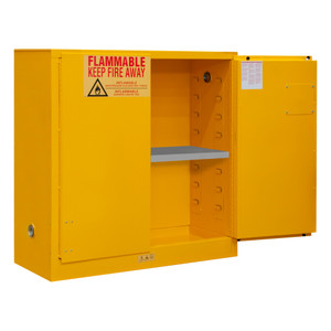 FM Approved, Flammable Storage Cabinet, 30 Gallon, 2 Doors, Manual Close, 1 Shelf, Safety Yellow