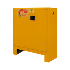 FM Approved, Flammable Storage Cabinet with Legs, 30 Gallon, 2 Doors, Manual Close, 1 Shelf, Safety Yellow