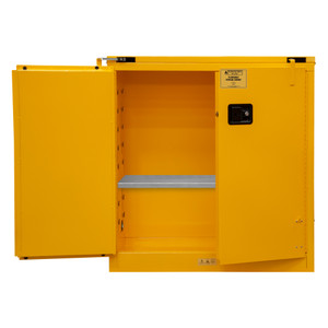 FM Approved, Flammable Storage Cabinet, 30 Gallon, 2 Doors, Self Close, 1 Shelf, Safety Yellow
