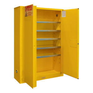 FM Approved, Flammable, Paint, Ink Storage Cabinet, 30 Gallon, 2 Doors, Manual Close, 5 Shelves, Safety Yellow