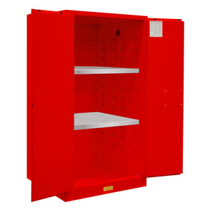 FM Approved, Flammable Storage Cabinet, 60 Gallon, 2 Doors, Manual Close, 2 Shelves, Red