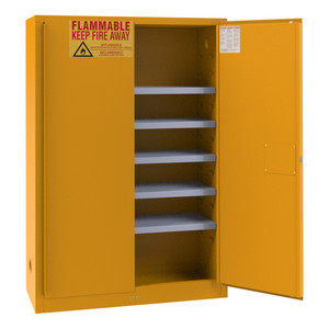 FM Approved, Flammable Storage Cabinet, 60 Gallon Paint, Ink Storage, 2 Doors, Manual Close, 5 Shelves, Safety Yellow