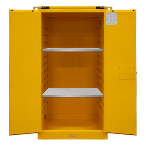 FM Approved, Flammable Storage Cabinet, 60 Gallon, 2 Doors, Self Close, 2 Shelves, Safety Yellow