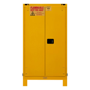 FM Approved, Flammable Storage Cabinet With Legs, 60 Gallon, 2 Doors, Self Close, 2 Shelves, Safety Yellow