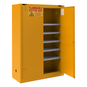 FM Approved, Flammable Storage Cabinet, 60 Gallon Paint, Ink Storage, 2 Doors, Self Close, 5 Shelves, Safety Yellow