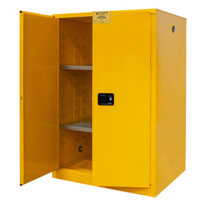 FM Approved, Flammable Storage Cabinet, 90 Gallon, 2 Doors, Manual Close, 2 Shelves, Safety Yellow
