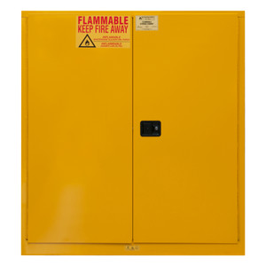 FM Approved, Flammable Storage Cabinet, 120 Gallon, 2 Doors, Manual Close, 2 Shelves, Safety Yellow