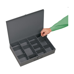Individual, Large, Steel, Compartment Box, Adjustable Opening, Vertical, Gray