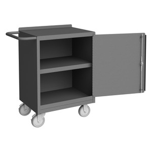 """Mobile Bench Cabinet With 5"""" X 1-1/4"""" Polyurethane Casters, Lockable With Tubular Push Handle, Gray"""