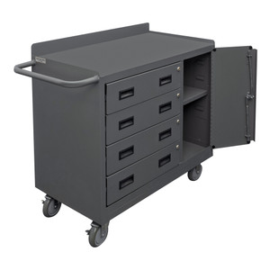 """Mobile Bench Cabinet With 5"""" x 1-1/4"""" Polyurethane Casters, 1 Fixed Shelf, 1 Adjustable In Storage Area, 1 Side Door, Lockable With Tubular Push Handle, Gray"""