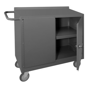 """Mobile Bench Cabinet With 5"""" x 1-1/4"""" Polyurethane Casters, 2 Fixed Shelves In Storage Area, 2 Doors, Lockable With Tubular Push Handle, Gray"""