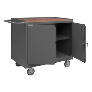 """Mobile Bench Cabinet With 5"""" x 1-1/4"""" Polyurethane Casters, (2) Rigid, (2) Swivel, 1 Shelf, 2 Doors, Tempered Hard Board Top Work Surface With Tubular Push Handle, Gray"""