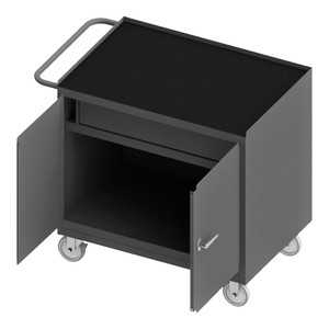 """Mobile Bench Cabinet With 5"""" x 1-1/4"""" Polyurethane Casters, (2) Rigid, (2) Swivel, 1 Shelf, 1 Drawer, 2 Doors, Black Rubber Mat Top Work Surface With Tubular Push Handle, Gray"""