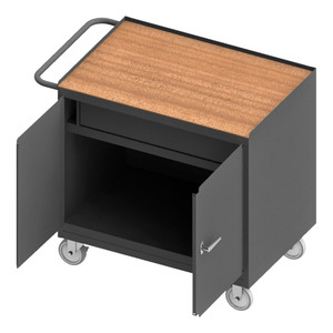 """Mobile Bench Cabinet With 5"""" x 1-1/4"""" Polyurethane Casters, (2) Rigid, (2) Swivel, 1 Shelf, 1 Drawer, 2 Doors, Tempered Hard Board Top Work Surface With Tubular Push Handle, Gray"""