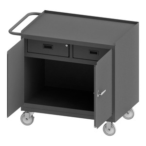 """Mobile Bench Cabinet With 5"""" x 1-1/4"""" Polyurethane Casters, (2) Rigid, (2) Swivel, Steel Top Work Surface With Tubular Push Handle, Gray"""