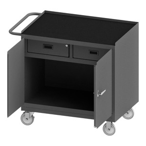 """Mobile Bench Cabinet With 5"""" x 1-1/4"""" Polyurethane Casters, (2) Rigid, (2) Swivel, 1 Shelf, 2 Drawers, 2 Doors, Steel Top Work Surface With Tubular Push Handle, Gray"""