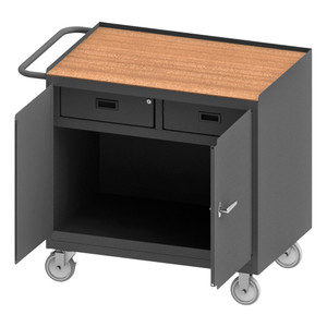 """Mobile Bench Cabinet With 5"""" x 1-1/4"""" Polyurethane Casters, (2) Rigid, (2) Swivel, 1 Shelf, 2 Drawers, 2 Doors, Tempered Hard Board Top Work Surface With Tubular Push Handle, Gray"""
