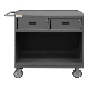 """Mobile Bench Cabinet With 5"""" x 1-1/4"""" Polyurethane Casters, (2) Rigid, (2) Swivel, 1 Shelf, 2 Drawers, Steel Top Work Surface With Top Lip Down, Tubular Push Handle, Gray"""