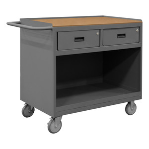 """Mobile Bench Cabinet With 5"""" x 1-1/4"""" Polyurethane Casters, (2) Rigid, (2) Swivel, 1 Shelf, 2 Drawers, Tempered Hard Board Top Work Surface With Top Lip Down, Tubular Push Handle, Gray"""
