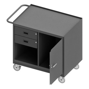 """Mobile Bench Cabinet With 5"""" x 1-1/4"""" Polyurethane Casters, (2) Rigid, (2) Swivel, 1 Shelf, 1 Storage Area, 2 Drawers, 1 Door, Steel Top Work Surface With Tubular Push Handle, Gray"""