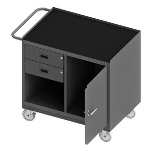 """Mobile Bench Cabinet With 5"""" x 1-1/4"""" Polyurethane Casters, (2) Rigid, (2) Swivel, 1 Shelf, 1 Storage Area, 2 Drawers, 1 Door, Black Rubber Mat Top Work Surface With Tubular Push Handle, Gray"""