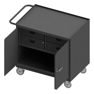 """Mobile Bench Cabinet With 5"""" x 1-1/4"""" Polyurethane Casters, (2) Rigid, (2) Swivel, 1 Shelf, 4 Drawers, 2 Doors, Steel Top Work Surface With Tubular Push Handle, Gray"""