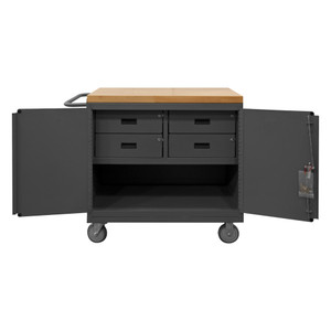"""Mobile Bench Cabinet With 5"""" x 1-1/4"""" Polyurethane Casters, (2) Rigid, (2) Swivel, 1 Shelf, 4 Drawers, 2 Doors, Maple Top Work Surface With Tubular Push Handle, Gray"""