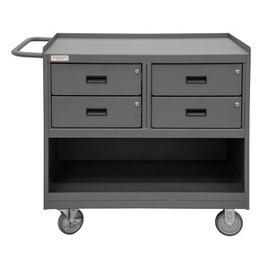 """Mobile Bench Cabinet With 5"""" x 1-1/4"""" Polyurethane Casters, (2) Rigid, (2) Swivel, 1 Shelf, 4 Drawers, Steel Top Work Surface With Top Lip Down, Tubular Push Handle, Gray"""