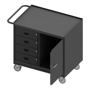 """Mobile Bench Cabinet With 5"""" x 1-1/4"""" Polyurethane Casters, (2) Rigid, (2) Swivel, 1 Storage Area With 1 Door, 4 Drawers, Steel Top Work Surface With Tubular Push Handle, Gray"""