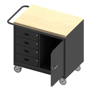 """Mobile Bench Cabinet With 5"""" x 1-1/4"""" Polyurethane Casters, (2) Rigid, (2) Swivel, 1 Storage Area With 1 Door, 4 Drawers, Maple Top Work Surface With Tubular Push Handle, Gray"""