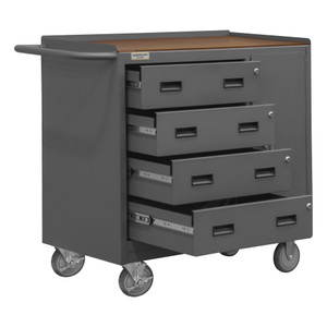 """Mobile Bench Cabinet With 5"""" x 1-1/4"""" Polyurethane Casters, (2) Rigid, (2) Swivel, 1 Storage Area With 1 Door, 4 Drawers, Tempered Hard Board Top Work Surface With Tubular Push Handle, Gray"""