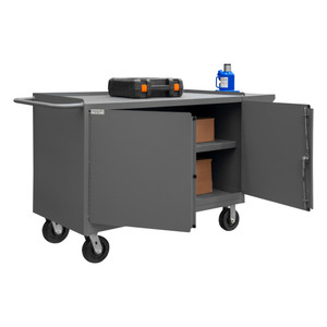 """Mobile Bench Cabinet With 6"""" x 2"""" Phenolic Bolt-On Casters, (2) Rigid, (2) Swivel, 1 Shelf In Storage Area, 2 Doors With Tubular Push Handle, Gray"""
