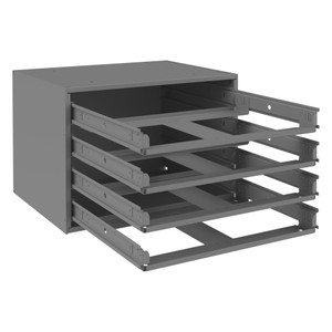 Slide Rack, Small, Easy Glide, Holds 4 Large Compartment Boxes, Gray