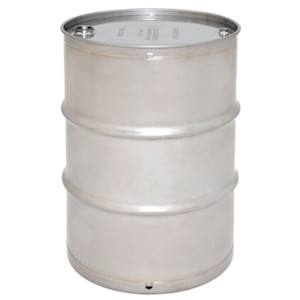 Stainless Steel Drum, 30 gallon, Tight Head, UN Rated Seamless, Crevice-Free