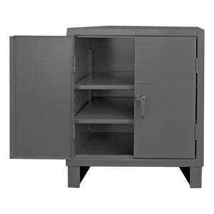 Heavy Duty Cabinet, 14 Gauge, 36 x 24 x 42, 2 Adjustable Shelves, Recessed Doors, Cast Iron Pad-lockable Handle, Gray