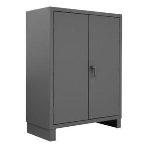 Heavy Duty Cabinet, 14 Gauge, 36 x 24 x 60, 3 Adjustable Shelves, Recessed Doors, Cast Iron Pad-lockable Handle, Gray